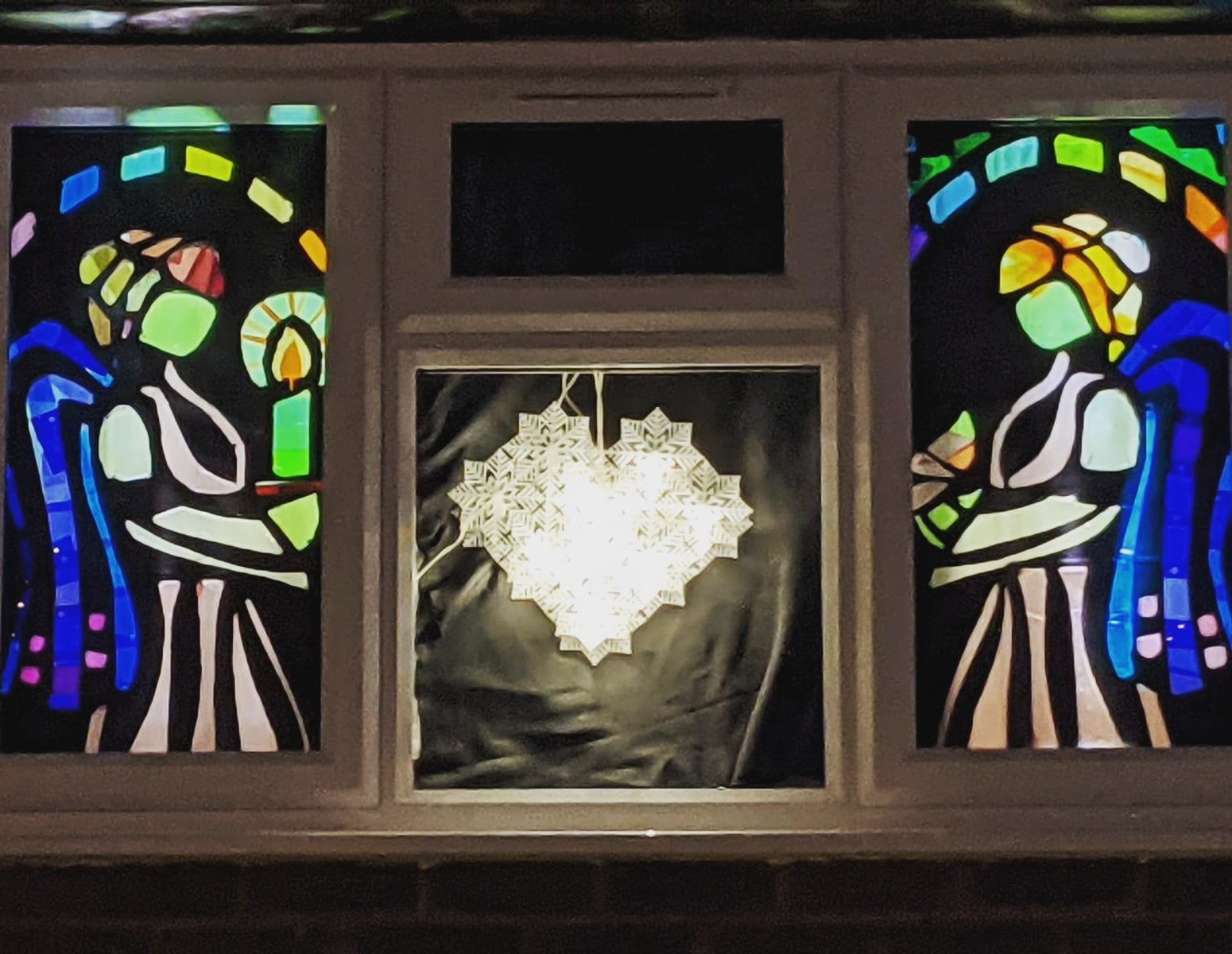 Christmas window with angels